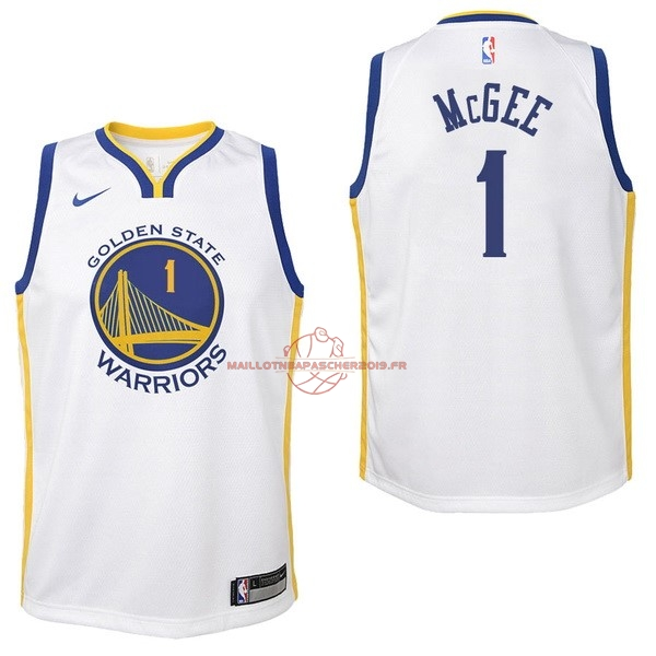 Achat Maillot NBA Enfant Golden State Warriors NO.1 JaVale McGee Blanc Association 2017-18 pas cher