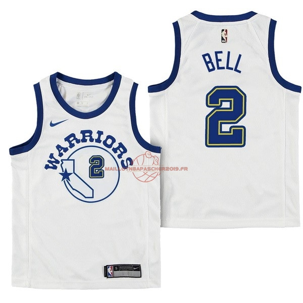 Achat Maillot NBA Enfant Golden State Warriors NO.2 Jordan Bell Nike Retro Blanc 2017-18 pas cher
