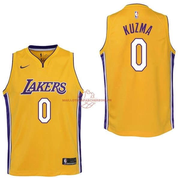 Achat Maillot NBA Enfant Los Angeles Lakers NO.0 Kyle Kuzma Jaune Icon 2017-18 pas cher