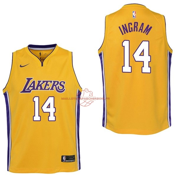 Achat Maillot NBA Enfant Los Angeles Lakers NO.14 Brandon Ingram Jaune Icon 2017-18 pas cher