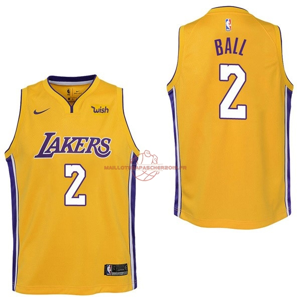 Achat Maillot NBA Enfant Los Angeles Lakers NO.2 Lonzo Ball Jaune 2017-18 pas cher