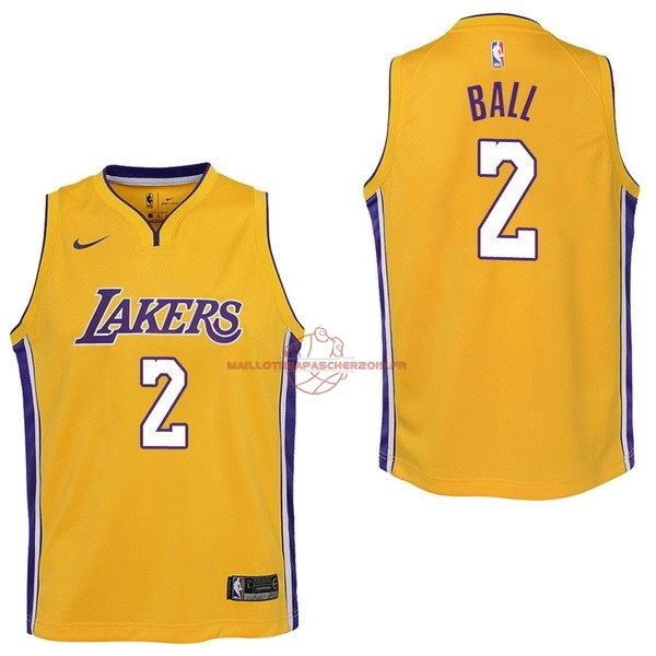 Achat Maillot NBA Enfant Los Angeles Lakers NO.2 Lonzo Ball Jaune Icon 2017-18 pas cher