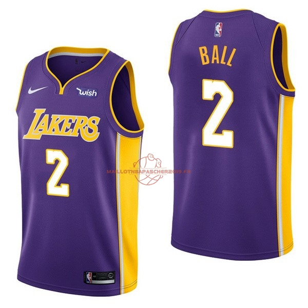 Achat Maillot NBA Enfant Los Angeles Lakers NO.2 Lonzo Ball Pourpre 2017-18 pas cher