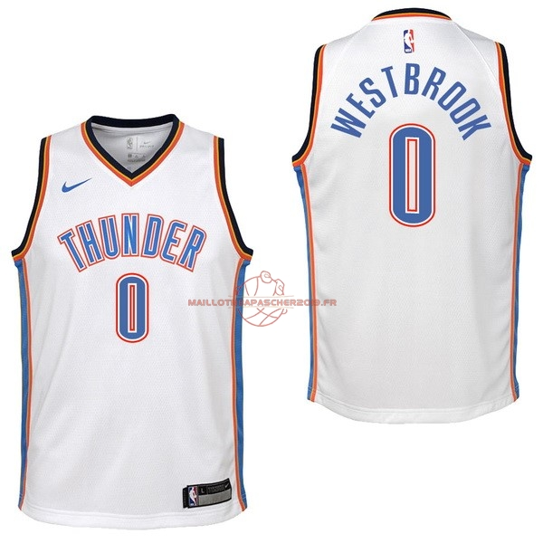 Achat Maillot NBA Enfant Oklahoma City Thunder NO.0 Russell Westbrook Blanc Association 2017-18 pas cher