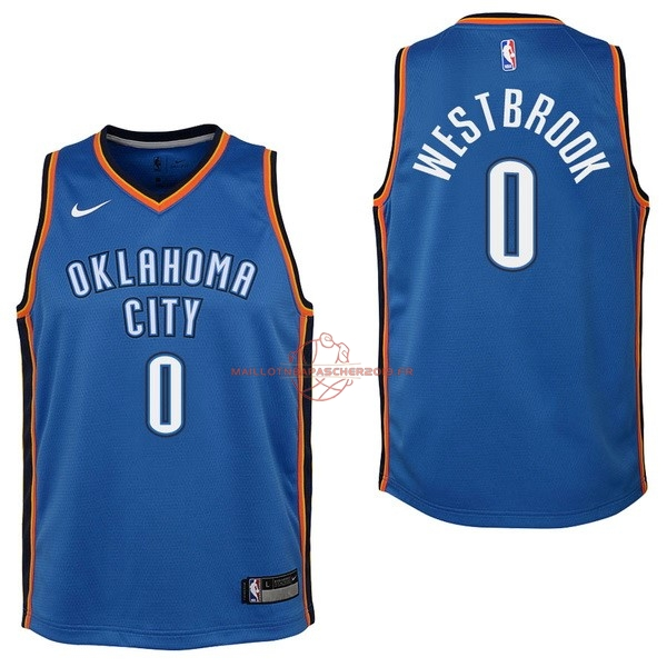Achat Maillot NBA Enfant Oklahoma City Thunder NO.0 Russell Westbrook Bleu Icon 2017-18 pas cher