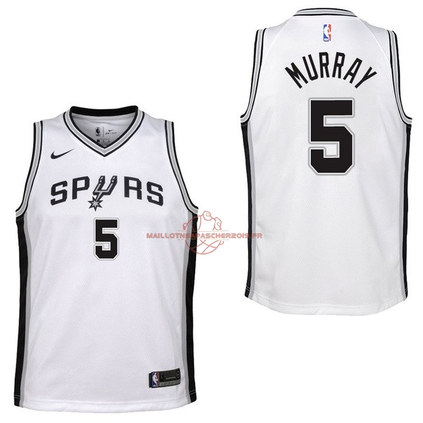 Achat Maillot NBA Enfant San Antonio Spurs NO.5 Dejounte Murray Blanc Association 2017-18 pas cher