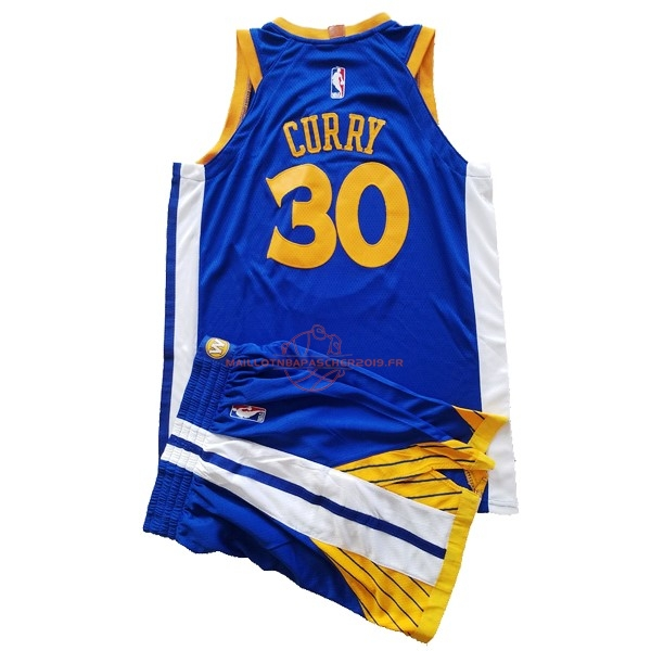 Achat Maillot NBA Ensemble Complet Enfant Golden State Warriors NO.30 Stephen Curry Bleu 2017-18 pas cher