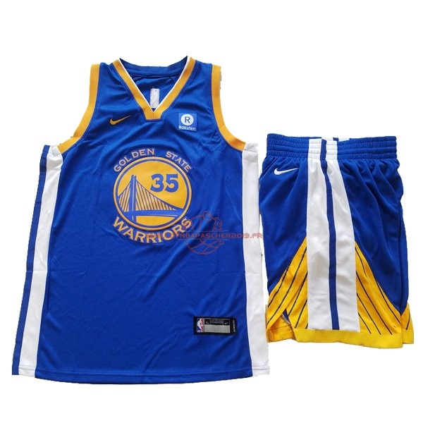 Achat Maillot NBA Ensemble Complet Enfant Golden State Warriors NO.35 Kevin Durant Bleu 2017-18 pas cher