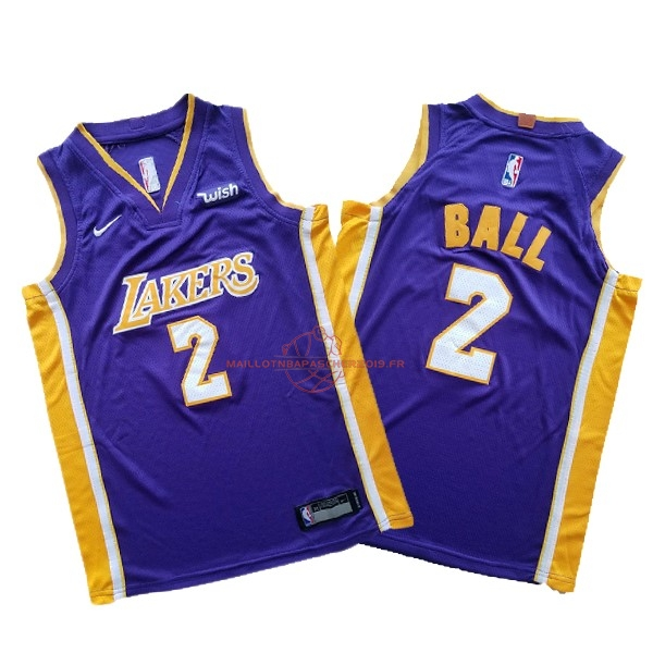 Achat Maillot NBA Ensemble Complet Enfant Los Angeles Lakers NO.2 Lonzo Ball Pourpre 2017-18 pas cher