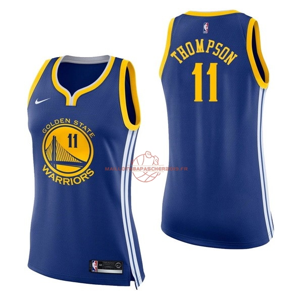 Achat Maillot NBA Femme Golden State Warriors NO.11 Klay Thompson Bleu Icon pas cher