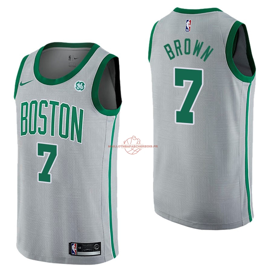 Achat Maillot NBA Nike Boston Celtics NO.7 Jaylen Brown Gris Ville pas cher