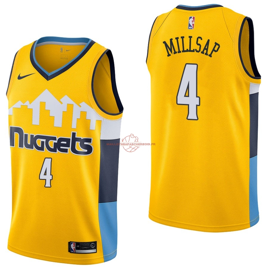 Achat Maillot NBA Nike Denver Nuggets NO.4 Paul Millsap Jaune Statement pas cher