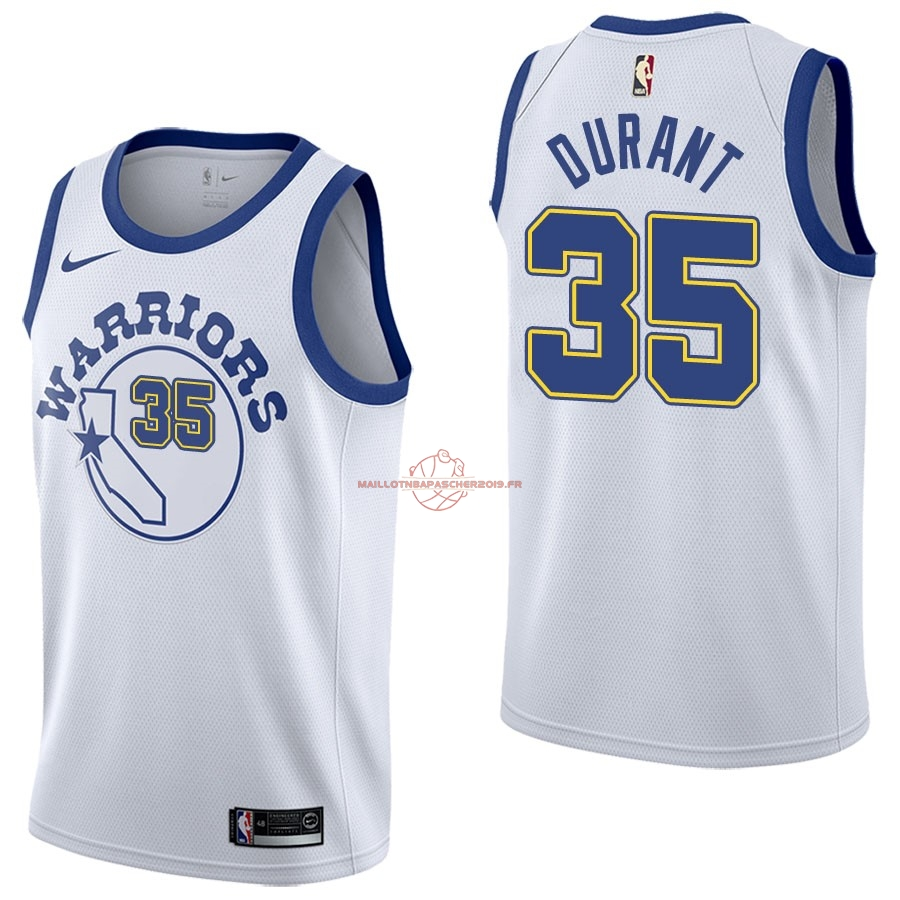 Achat Maillot NBA Nike Golden State Warriors NO.35 Kevin Durant Nike Retro Blanc pas cher