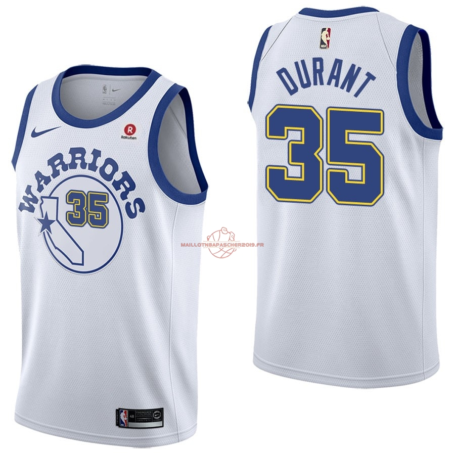 Achat Maillot NBA Nike Golden State Warriors NO.35 Kevin Durant Retro Blanc pas cher