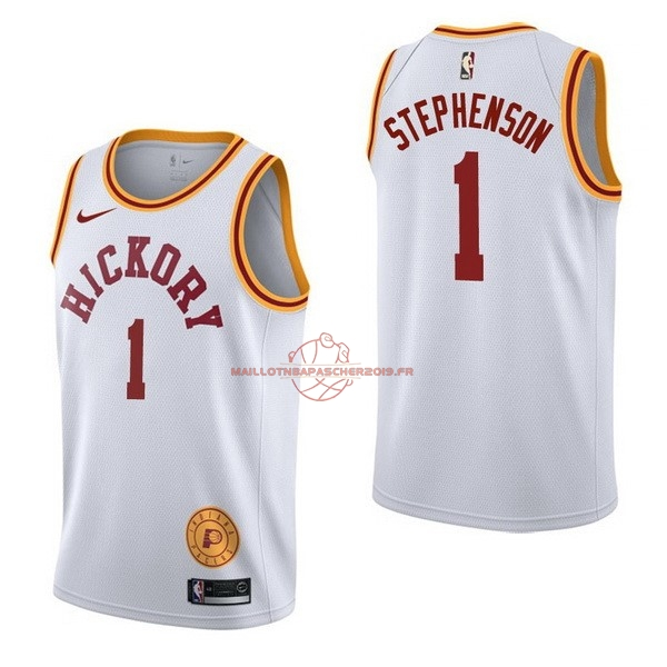 Achat Maillot NBA Nike Indiana Pacers NO.1 Lance Stephenson Retro Blanc pas cher
