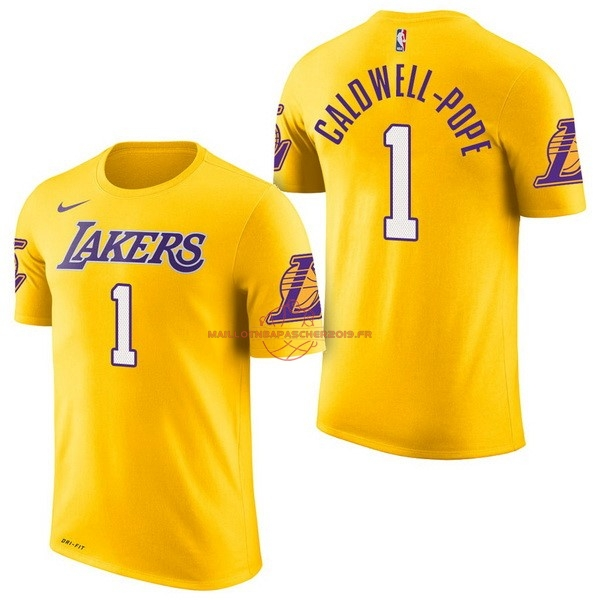 Achat Maillot NBA Nike Los Angeles Lakers Manche Courte NO.1 Kentavious Caldwell Pope Jaune pas cher