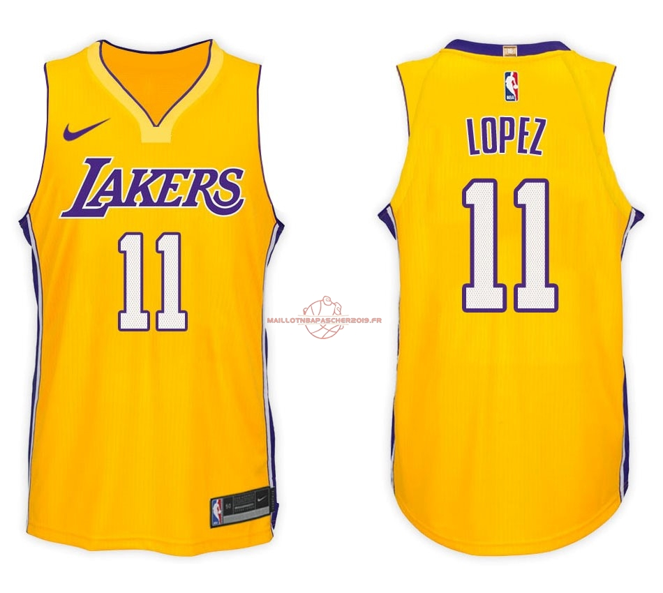 Achat Maillot NBA Nike Los Angeles Lakers NO.11 Brook Lopez Jaune Icon pas cher