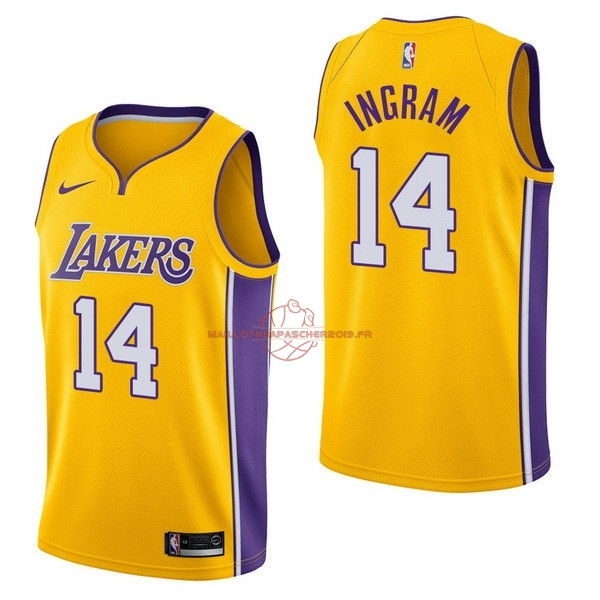 Achat Maillot NBA Nike Los Angeles Lakers NO.14 Brandon Ingram Jaune Icon pas cher