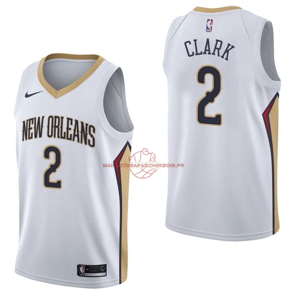 Achat Maillot NBA Nike New Orleans Pelicans NO.2 Ian Clark Blanc Association pas cher