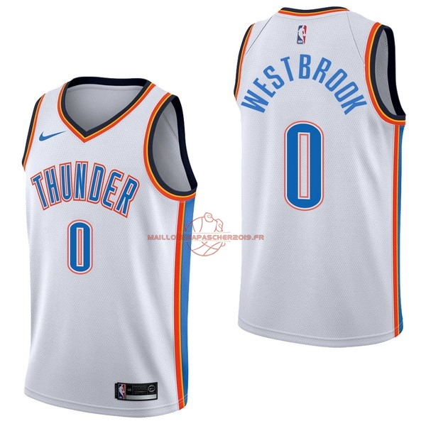 Achat Maillot NBA Nike Oklahoma City Thunder NO.0 Russell Westbrook Blanc Association pas cher
