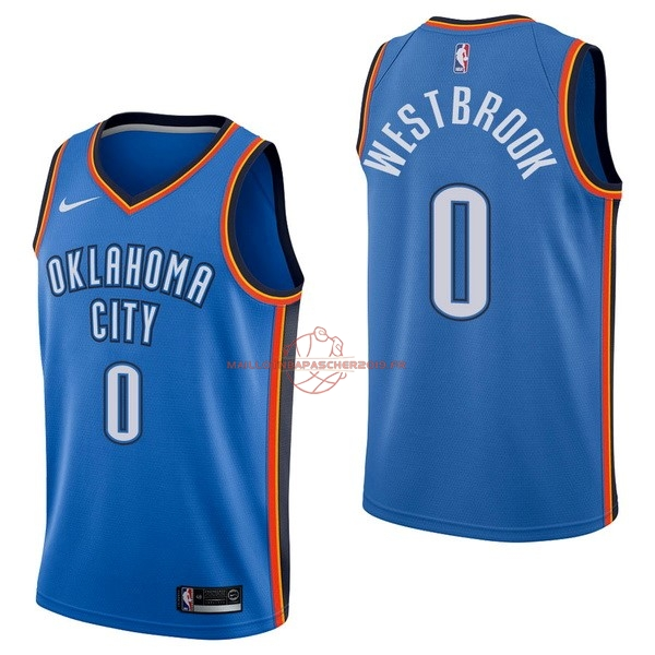 Achat Maillot NBA Nike Oklahoma City Thunder NO.0 Russell Westbrook Bleu Icon pas cher