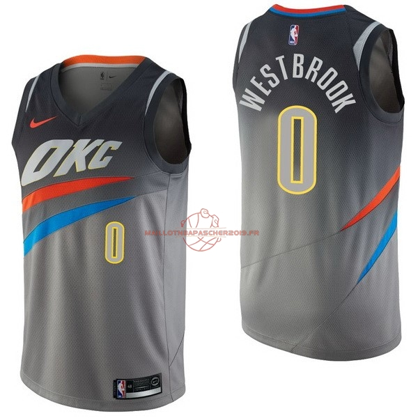 Achat Maillot NBA Nike Oklahoma City Thunder NO.0 Russell Westbrook Nike Gris Ville pas cher