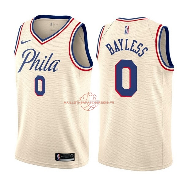 Achat Maillot NBA Nike Philadelphia Sixers NO.0 Jerryd Bayless Nike Crème Ville pas cher