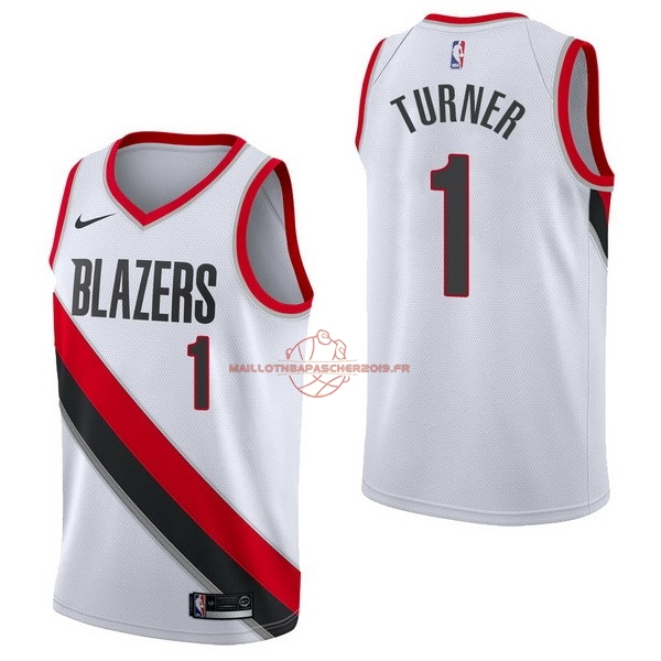 Achat Maillot NBA Nike Portland Trail Blazers NO.1 Evan Turner Blanc Association pas cher
