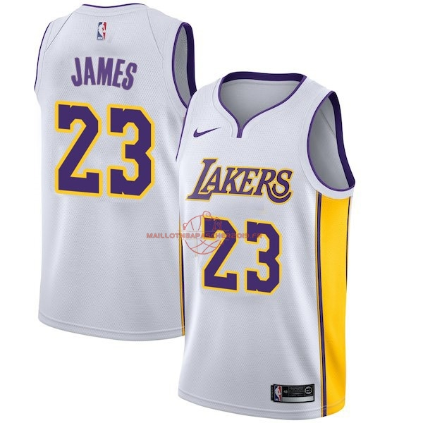 Achat Maillot NBA Enfant Los Angeles Lakers NO.23 LeBron James Blanc Association 2017-18 pas cher