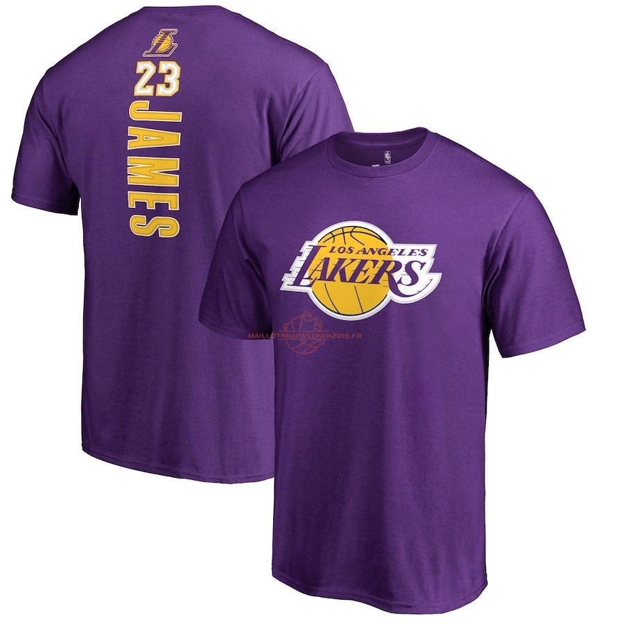 Achat Maillot NBA Nike Los Angeles Lakers Manche Courte NO.23 Lebron James Pourpre pas cher