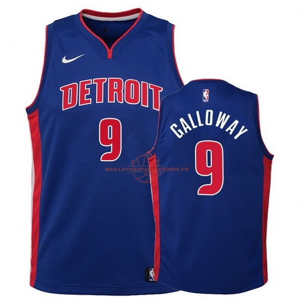 Achat Maillot NBA Enfant Detroit Pistons NO.9 Langston Galloway Bleu Icon pas cher