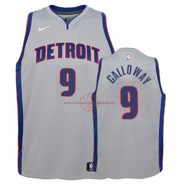 Achat Maillot NBA Enfant Detroit Pistons NO.9 Langston Galloway Gris Statement pas cher