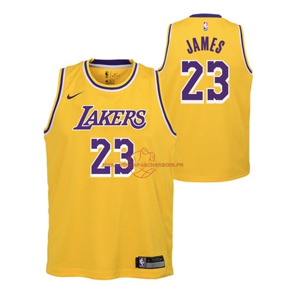 Achat Maillot NBA Enfant Los Angeles Lakers NO.23 Lebron James Jaune Icon 2018-19 pas cher