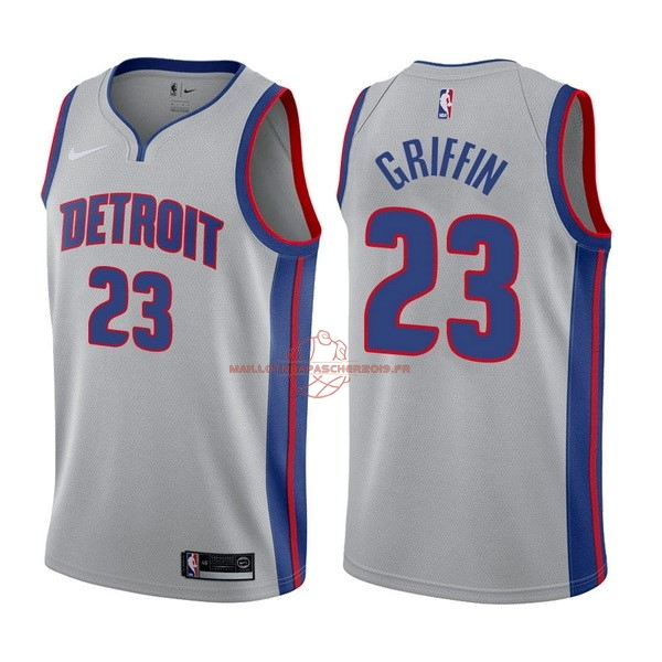 Achat Maillot NBA Nike Detroit Pistons NO.23 Blake Griffin Gris Statement 2017-18 pas cher