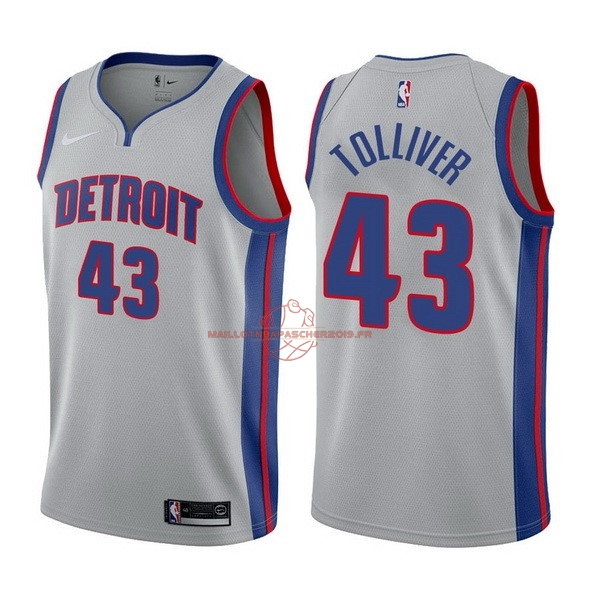 Achat Maillot NBA Nike Detroit Pistons NO.43 Anthony Tolliver Gris Statement 2017-18 pas cher