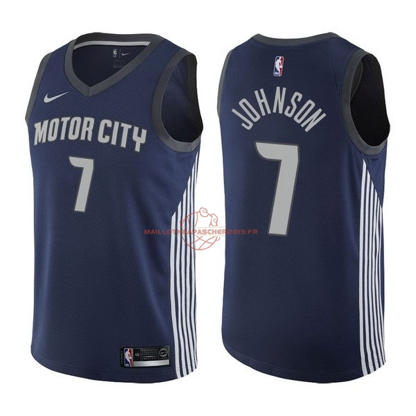 Achat Maillot NBA Nike Detroit Pistons NO.7 Stanley Johnson Nike Marine Ville 2017-18 pas cher