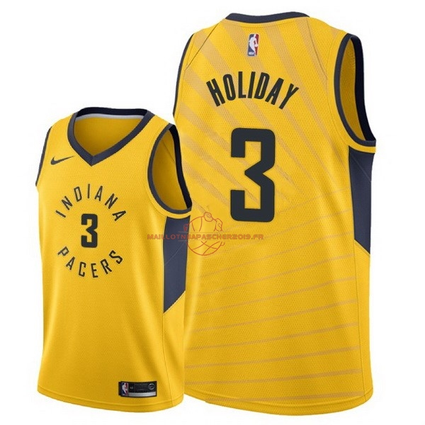 Achat Maillot NBA Nike Indiana Pacers NO.3 Aaron Holiday Jaune Statement 2018 pas cher