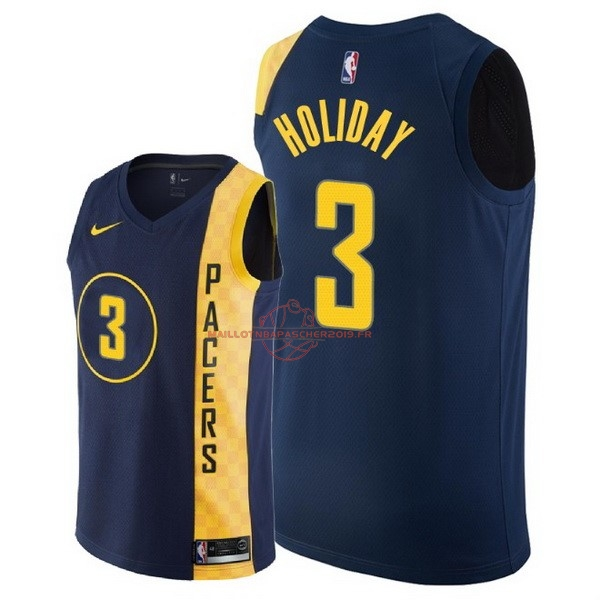Achat Maillot NBA Nike Indiana Pacers NO.3 Aaron Holiday Nike Marine Ville 2018 pas cher