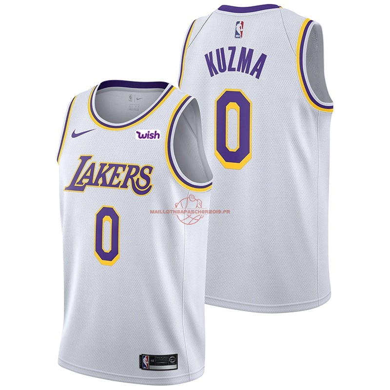 Achat Maillot NBA Nike Los Angeles Lakers NO.0 Kyle Kuzma Blanc 2018-19 pas cher