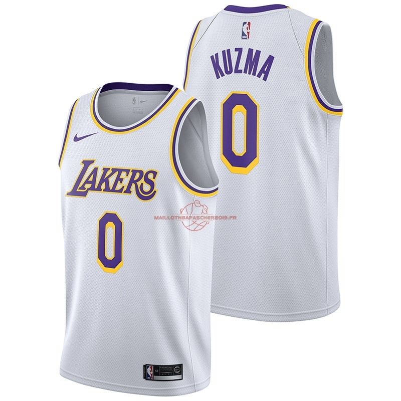 Achat Maillot NBA Nike Los Angeles Lakers NO.0 Kyle Kuzma Blanc Association 2018-19 pas cher