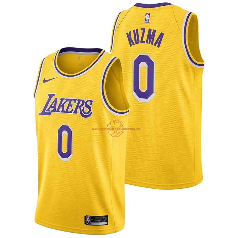 Achat Maillot NBA Nike Los Angeles Lakers NO.0 Kyle Kuzma Jaune Icon 2018-19 pas cher