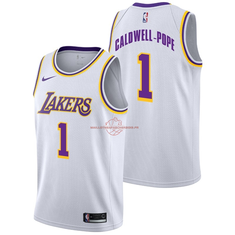 Achat Maillot NBA Nike Los Angeles Lakers NO.1 Kentavious Caldwell Pope Blanc Association 2018-19 pas cher