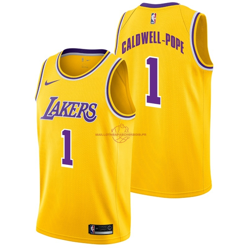 Achat Maillot NBA Nike Los Angeles Lakers NO.1 Kentavious Caldwell Pope Jaune Icon 2018-19 pas cher