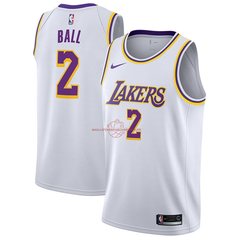 Achat Maillot NBA Nike Los Angeles Lakers NO.2 Lonzo Ball Blanc Association 2018-19 pas cher