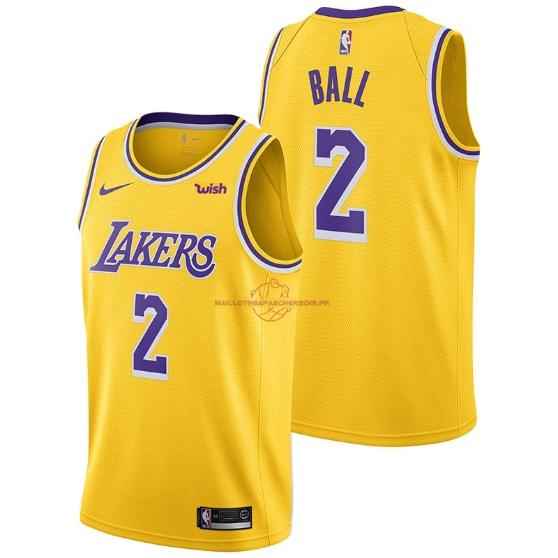 Achat Maillot NBA Nike Los Angeles Lakers NO.2 Lonzo Ball Jaune 2018-19 pas cher