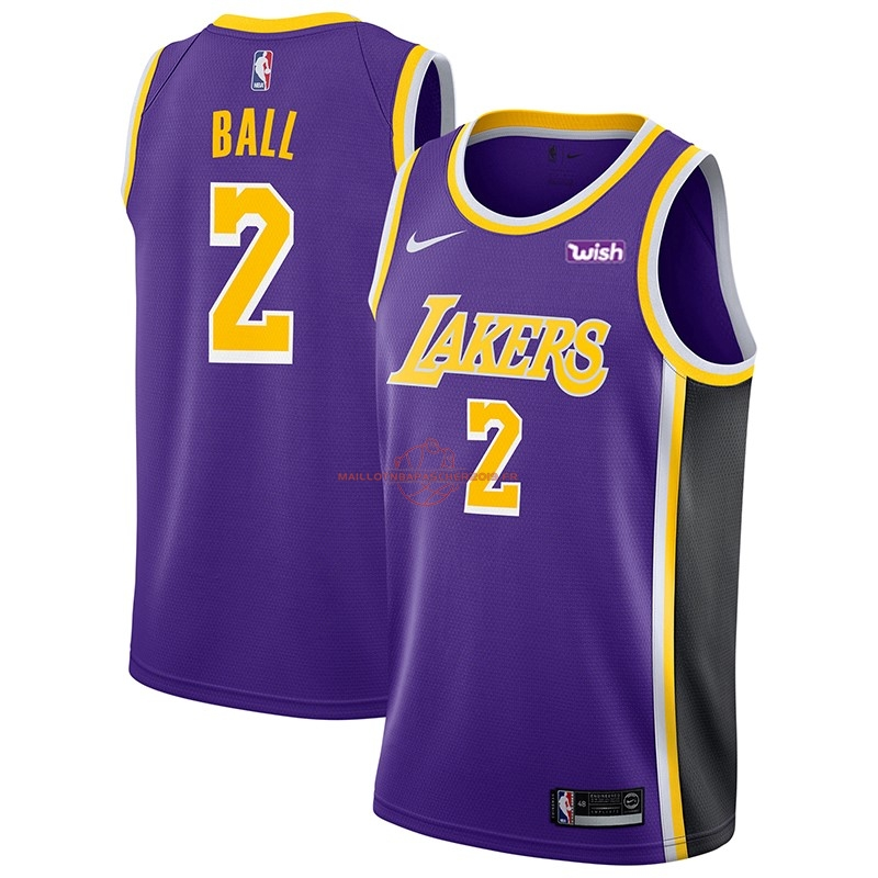 Achat Maillot NBA Nike Los Angeles Lakers NO.2 Lonzo Ball Pourpre 2018-19 pas cher