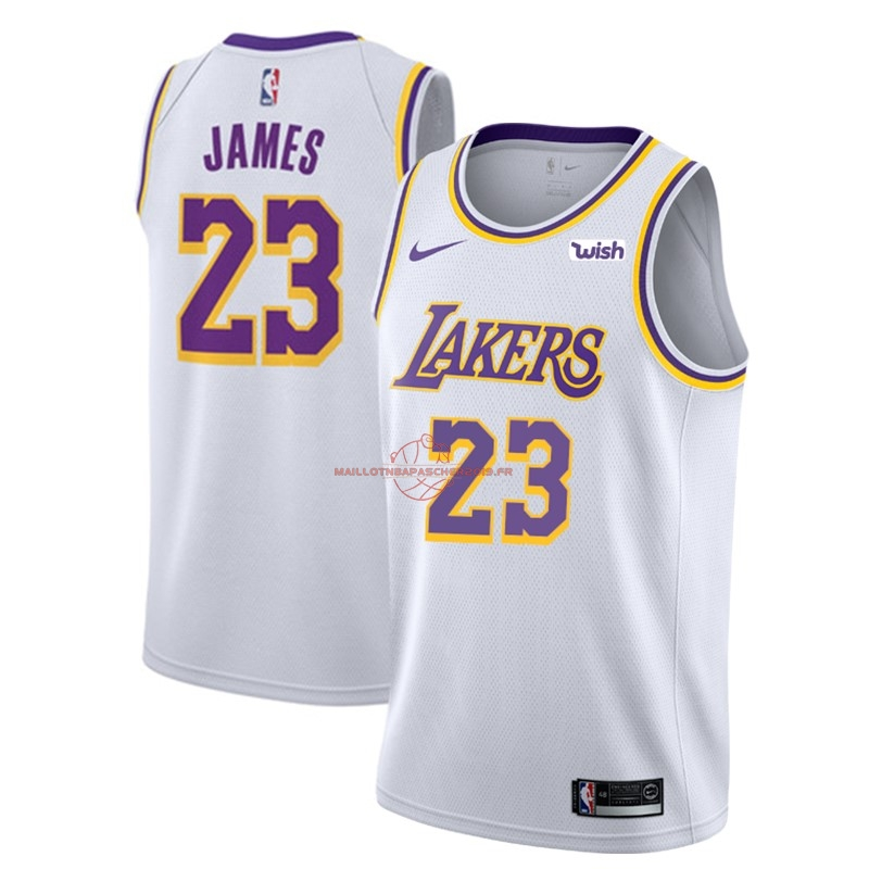 Achat Maillot NBA Nike Los Angeles Lakers NO.23 Lebron James Blanc 2018-19 pas cher