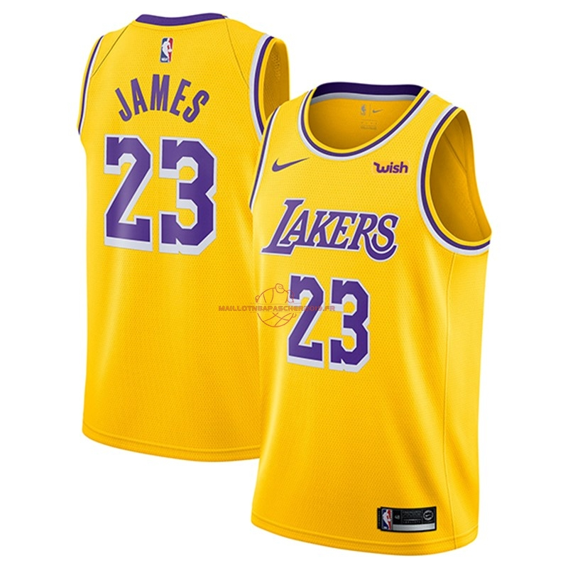Achat Maillot NBA Nike Los Angeles Lakers NO.23 Lebron James Jaune 2018-19 pas cher