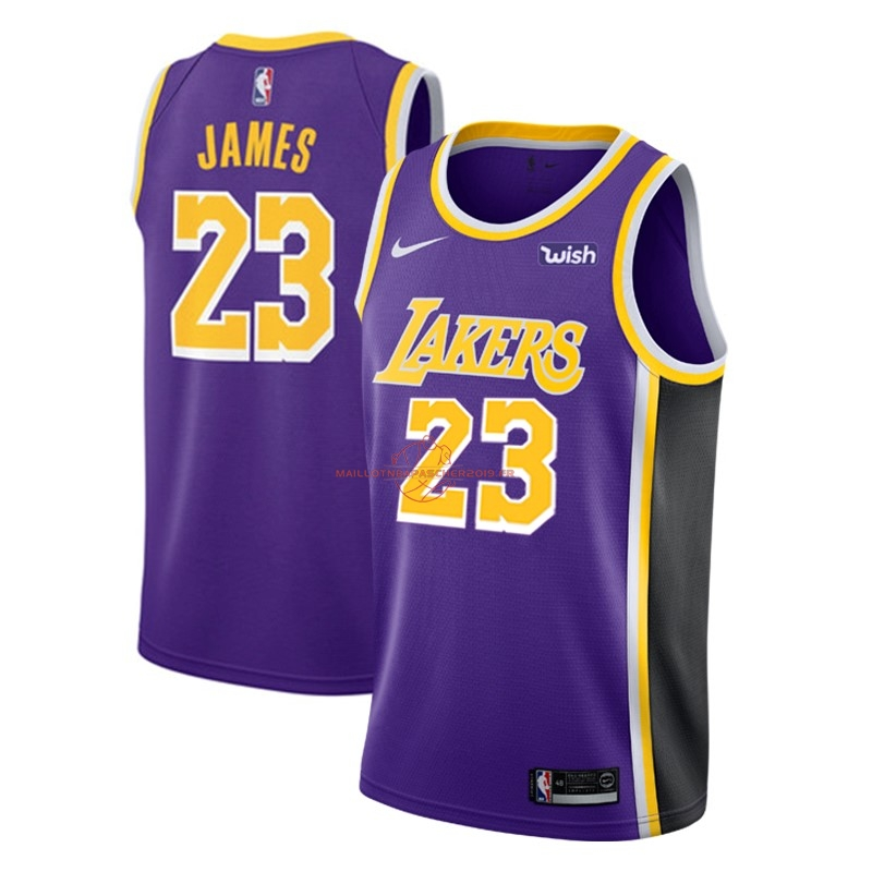 Achat Maillot NBA Nike Los Angeles Lakers NO.23 Lebron James Pourpre 2018-19 pas cher