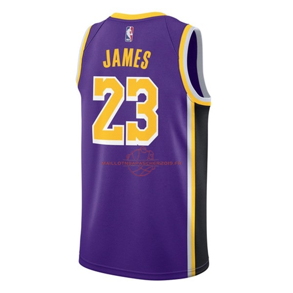 Achat Maillot NBA Nike Los Angeles Lakers NO.23 Lebron James Pourpre Statement 2018-19 pas cher